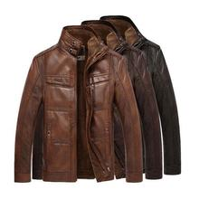 New Men's leather jacket coat thickness man leather male locomotive coat Leather Jacket, PU overcoat with woolen