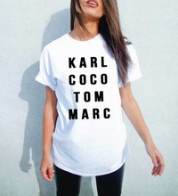 Newest Women Fashion Letters t shirts karl coco tom marc t shirt Female Summer Casual Cotton Tees Hip Hop Tops Swag t-shirt(China)