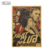 TIE LER Retro Poster Fight Club Kraft Paper Poster Home Bar Cafe Decor Wall Sticker