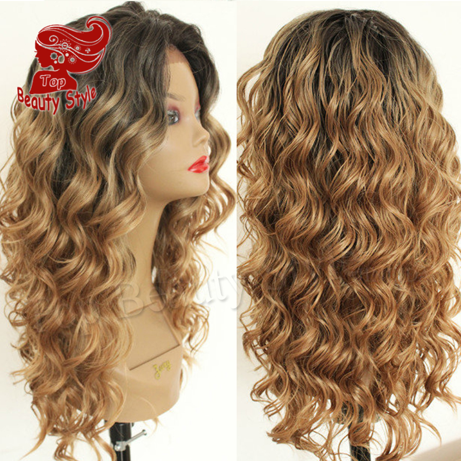 2016 Two Tone Ombre Black Blonde Color Hair Curly Wig Heat Resistant Loose Curl Wig Synthetic Lace Front Wigs for Women<br><br>Aliexpress