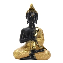 KiWarm Classic Thai Buddha Statue Praying Sitting Meditating Figurine Sculpture Feng Shui Ornaments Craft For Home Offfice Decor(China)