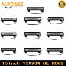 "DISCOUNT 10PCS FREE SHIPPING 15""inch 90W DUAL ROWS COMBO truck Led work Light bar 4x4 ip67 led light bar offroad(China)"