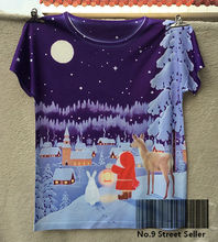 Track Ship+New Fresh Hot T-shirt Top Tee Purple Sky Santa Claus with His Reindeer White Rabbit in Village(Hong Kong)