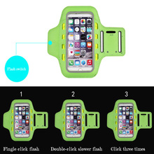 LED light waterproof fabric and PVC outdoor exercise arm belt cell phone case/mobile case