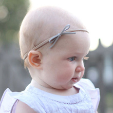 Nylon Headband Baby Girls Elastic Hairband Infant Toddler Suede Solid Bow Kids Head band Hair Accessories