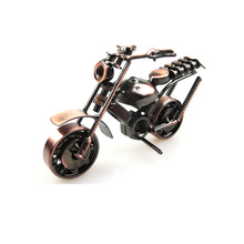 Bronze Motorcycle Model Punk Style Metal Diecast Miniatures Car Model Desktop Artware Home Decoration Kids Toy Photography Props