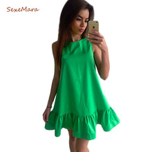 Buy Vestidos Sexy Ruffles Women Dress Summer Sleeveless Casual Line Bodycon Dresses Party Cocktail Short Mini Tube Beach Dress for $5.59 in AliExpress store