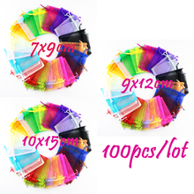 7x9/9x12/10x15cm Wholesale Christmas Gift 100Pcs Beautiful Mixed Colour Organza Pouch Jewelry Gift Bag for Wedding Festival(China)