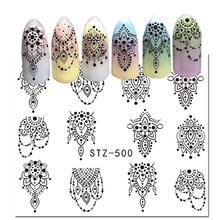 1Sheet Nail Stickers Black Necklace Jewelry Nail Art Water Transfer Stickers Decals Fruit/Geometric Pattern Manicure Decor LASTZ(China)