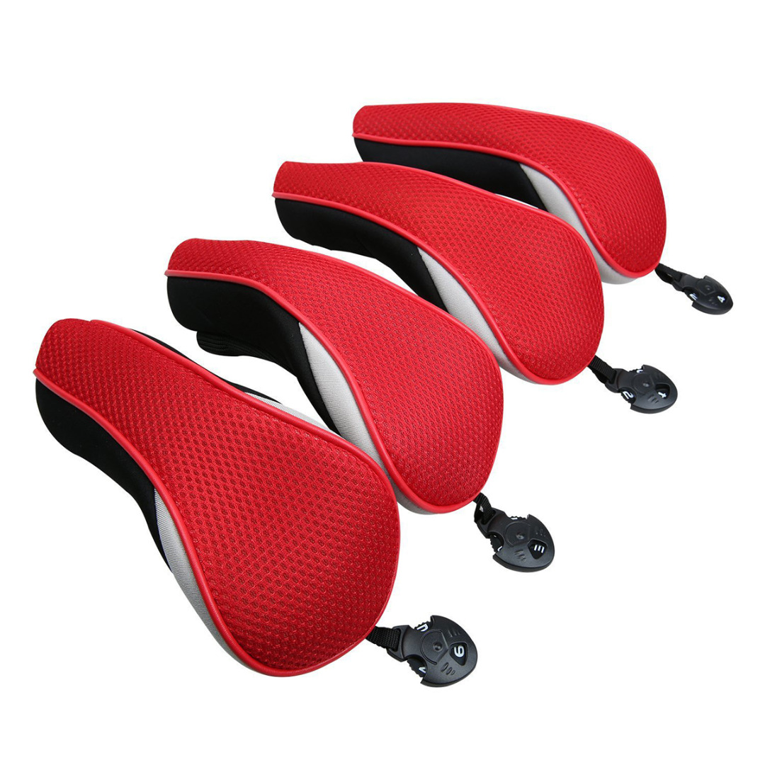 4Pcs 7 Colors Club Head Covers Golf Universal Neoprene Protective Cover Replacement Driver Fairway Wood Covers Golf Accessories