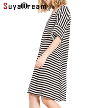 Women Silk dress Luxury 100% Natural silk Stripe short sleeved dress 2018 Spring Summer Black white striped(China)