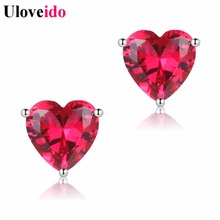 Uloveido Heart Stud Earings Rhinestone Wedding Earrings for Women Jewellery Girl Gift Aretes Red Stone Orecchini Donna * Y194