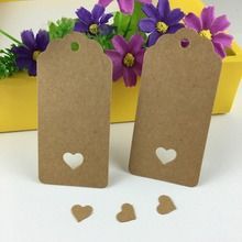 200PCS/Lot Kraft Price Tags Blank Gift Tag 9.5*4.5cm Garment Tag Paper Cards Hollow Heart-shaps DIY Gift Tags Accept Custom Logo