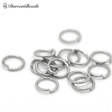 "DoreenBeads Hot Sale Stainless Steel Opened Jump Rings Jewelry Findings Round Silver Tone 5mm( 2/8"") Dia, Hole: 3.8mm 75 Pieces"