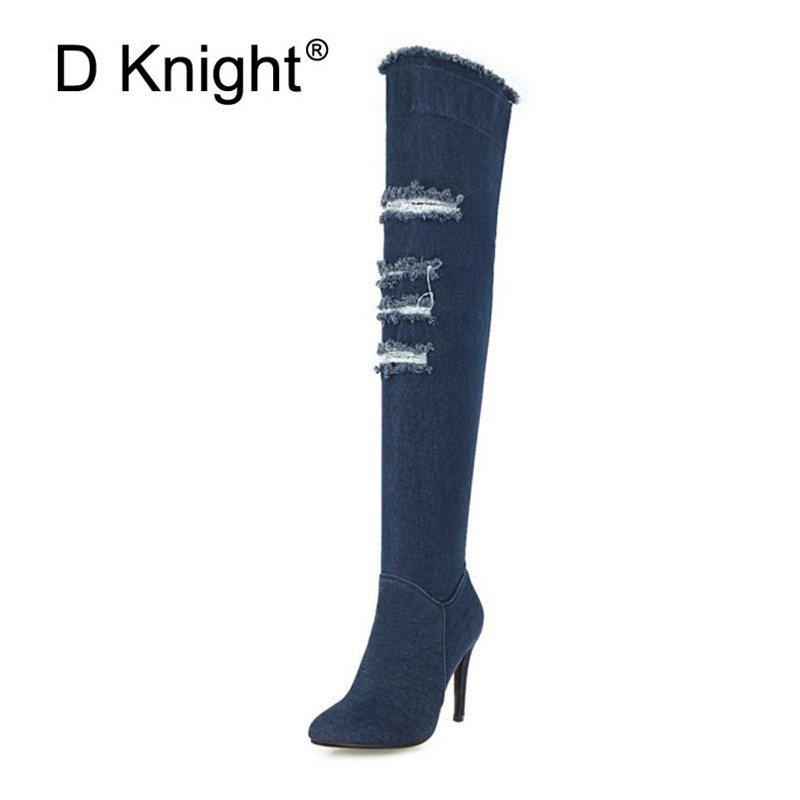 2018 Winter Boots Sexy Ponited Toe Women\`s Over The Knee Boots Fashion Denim Blue thigh High Boots Large Size 48 High Heels Boot (5)