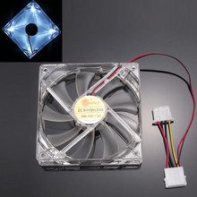 2017 Blue Red White Green Colorful Quad 4-LED Light Neon Clear 120mm PC Computer Case Cooling Fan Mod(China)