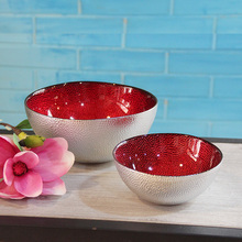 Silver red Glass bowl luxury decor glass cups fruit tray fashion plates dishes home decoration shop decor snack bowls