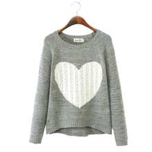 Cheap Pullover Women Sweaters Elegant Heart Pattern Pullover O neck Long Sleeve Knitwear Stylish Casual Knitted Sweater
