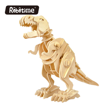 rc dinosaurs Robotime DIY 3D Wooden Puzzle Electronic Toys Walking T-Rex Kids Christmas gifts D210(China)
