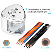 Battery Operated Pencil Sharpener W/2 Holes 6-8mm & 9-12mm,Automatic Electric Sharpener W/ Spring Cover,Auto-Stop Safety Feature