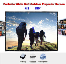 150 inches 4:3 Portable Wall Mounted Matt White Soft Curtain Folding Outdoor Projector Screen for LED LCD HD Movie Projection