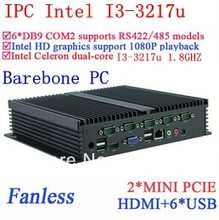 Core i3 mini pc industrial computers with Dual Gigabit Ethernet NM70 chip 6 USB 6 RS232 Barebone pc Windows or Linux