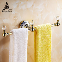 Towel Bars Luxury Golden Crystal Towel Rack Towel Bar Wall Mounted Ceramic Silver Towel Holder Nail Bathroom Accessories 6319(China)
