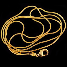 "10pcs/lot Wholesale Fashion Gold Color Necklace Chains,1.2mm Snake Chain Necklace 16""-30"",Pick Length(China)"