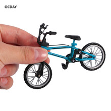 OCDAY Fingerboard bicycle Toys With Brake Rope Blue Simulation Alloy Finger bmx Bike Children Gift Mini Size New Sale(China)