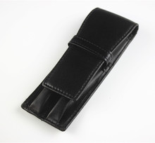 Black Double Pen Case Pouch Leather Fountain Pen Case Roller Pen Case Birthday Present Gift Business Office Accessories