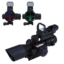 2017 Hunting 2.5 - 10X40 Tactical Optics Riflescope Red dot sight / Green Laser Dual Illuminated Scope Mil-dot 20mm Rail Mount