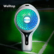 Rechargeable Portable Fan 3 Speed Adjustable USB Handheld Fan 7 Colors Light Personal Desktop Mini Fan Home Office Travel