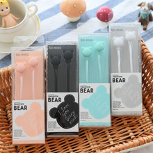 Cute cartoon bear Earphone in-ear Candy Color Girl Earphone Universal for iPhone Xiaomi Samsung Lenovo Nokia for Mp3(China)