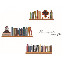 [Fundecor] diy vintage home decor creative bookshelves wall stickers decorative adesivos para parede wall book shelf