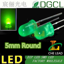 Free shipping Green indicator lamp 5MM light diode Diffused DIP LED 568-575nm 2.0-2.5V(China)