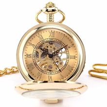 Luxury Golden Round Transparent Case Hunter Skeleton Mechanical Mens Fobs Pendant Chain Clip Pocket Watch Jewelry Clock / WPK129