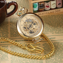 New Mechanical Hand Winding Luxury Golden Silver Pocket Watches 2 Fashion Color Men's Pocket Watches Fob Chain Necklace Gift Box