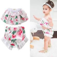 Fashion baby girls clothe sets Summer Infant toddler Lotus floral tops Bloomers Shorts set Cotton Kids girls Sunsuit Outfit D3