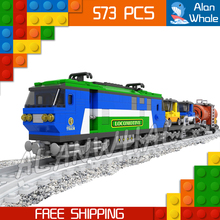 573pcs Train Creator Classical Cargo Trains 25808 Blue Locomotive Model Building Blocks Bricks Railway Toys Compatible With lego(China)