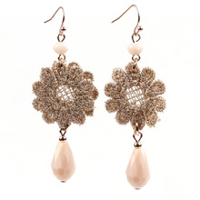 2016 New Harajuku design natural stone jewelry wholesale hot-selling boutique fashion frontier fashion crystal lace earrings wom