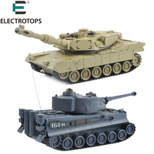 ET RC Tank 2 pcs/set 27Mhz 40Mhz 9CH RTR GE Tiger 103 VS US M1A2 Remote Control Fighting Battle Tank with Musical and Flashing