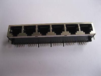 20 pcs RJ45 Network PCB Jack 59 8P 6 Ports LAN Connector<br>