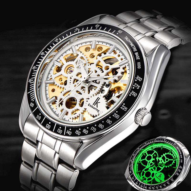 Brand  IK colouring  Luxury Sport Watch  Men Skeleton Mechanical Watch  Fashion Casual Stainless Steel Relogio Masculino<br>