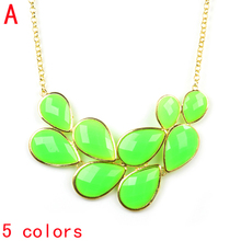Candy color jewelry oversized summer funky bubble bib statement necklace chunky leaf shaped jewelry 2013,5 colors,NL-2069(China)