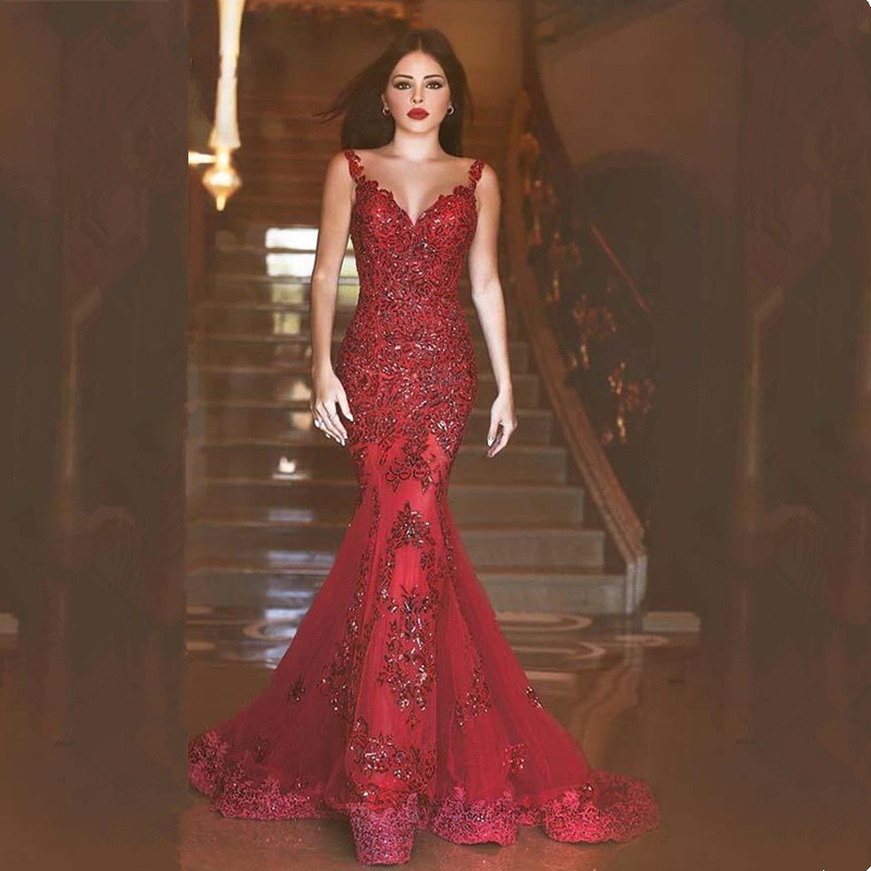 2019 Gorgeous Beading Mermaid Long Prom Dresses Sexy Red V-Neck Backless Prom Gowns Sequined Appliques Evening Party Dresses