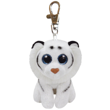 "Ty Beanie Babies 4"" 10cm Tundra the White Tiger Clip Plush Keychain Stuffed Animal Collectible Big Eyes Doll Toy"