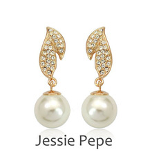 Jessie Pepe Italina Rigant Classic Earrings Brincos With Simulated Pearl Fashion Jewelry 18KGP Welcome Wholesale#JP84939(China)