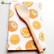 HAKOONA 3 Pieces/Set Orange Printed Waffle  Tea Towels Kitchen Napkins 100% Cotton Cloth Placemats Cloth  40x60cm