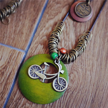 Retro Korean Stylish Simple Wood Bicycle Pendant Necklace Double Layer Wax Rope Chain For Women Girls Collare Minimalist Jewelry