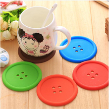 1pcs Silicone Cup mat Cute Colorful Button Cup Coaster Cup Cushion Holder Drink Cup Placemat Mat Pads Coffee Pad(China)